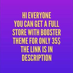 Get Booster theme only for 35$ !!!!!!