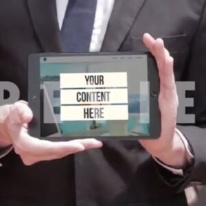 DropMock Demo Video of a man who is reading then he holds the iPad and shows it to the audience